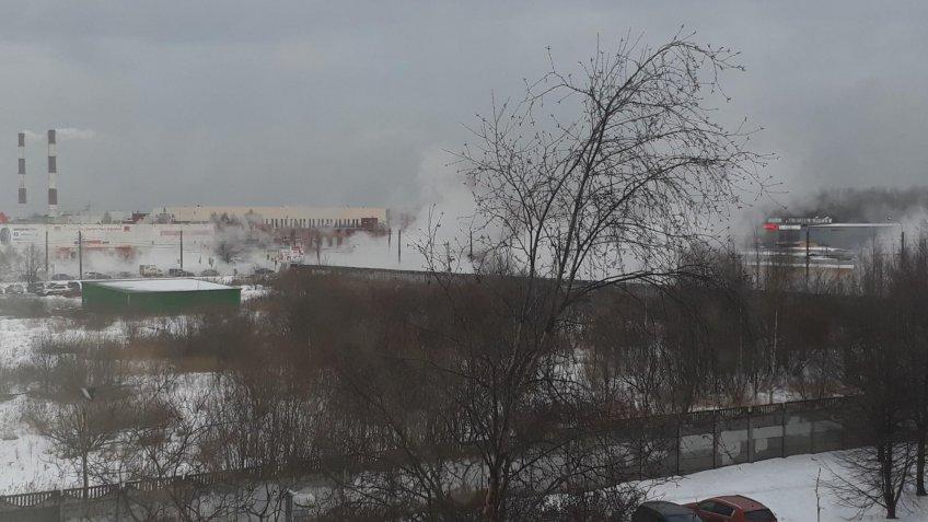 НаПражской улице вПетербурге прорвало трубу скипятком