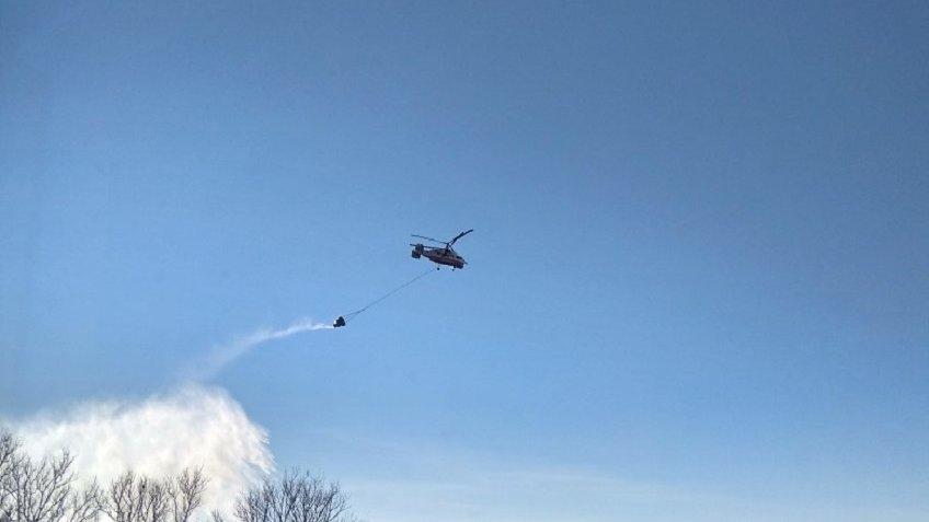 вертолет пожар Парголово